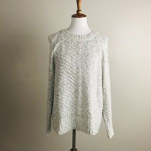 Lush Cold Shoulder Sweater White/Gray Pullover S